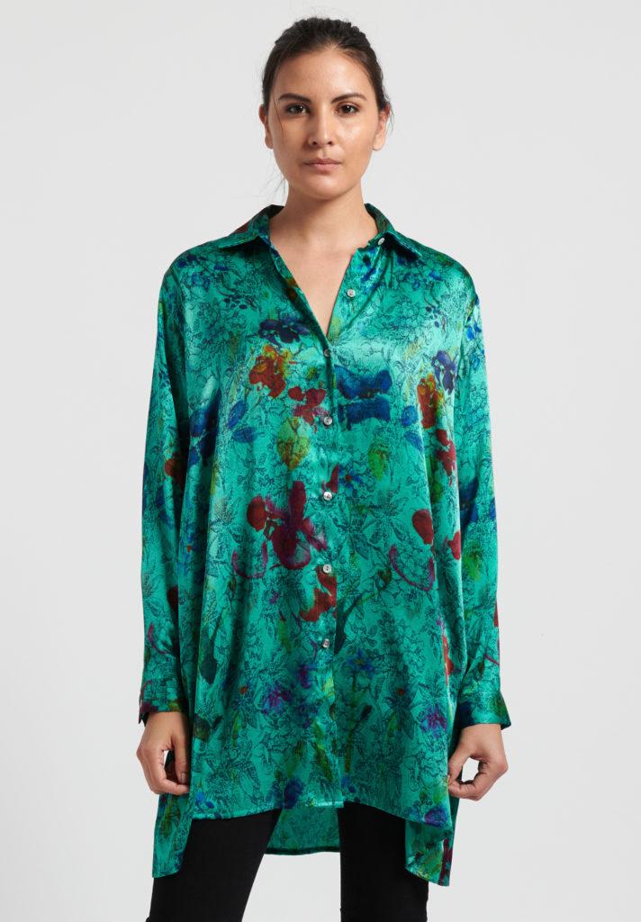 Avant Toi SS20, Green Silk Floral Shirt