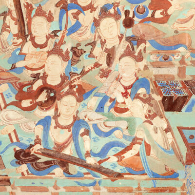 Cave 85, detail of wall painting of musicians, Late Tang dynasty (848–907 CE). Mogao Grottoes, Dunhuang, China. Courtesy the Dunhuang Academy