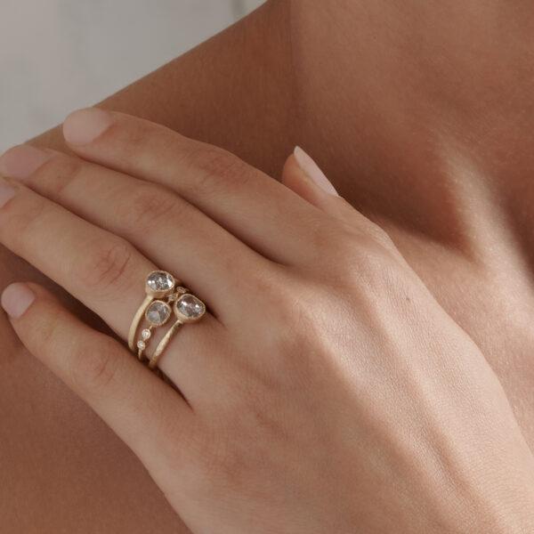Yasuko Azuma Diamond Muget Ring Stack
