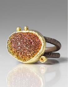 Maria Frantzi Rainbow Pyrite Druzie and Yellow Sapphire Ring | Jewelry Inspiration Board | Santa Fe Dry Goods & Workshop