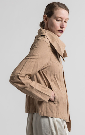 Nicholas K Linen/Cotton Short Duster Jacket in Dusk Tan | Nature Walk Mosaic | Santa Fe Dry Goods & Workshop