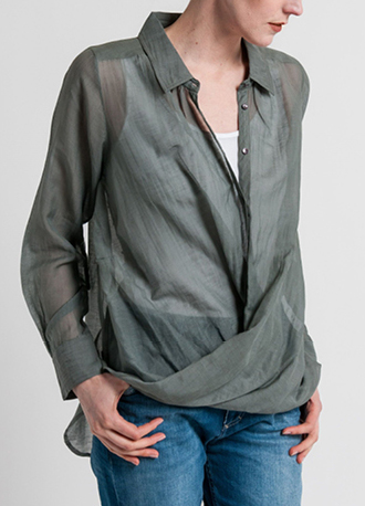 Nicholas K Cotton/Silk Ritz Drape Shirt in Granite Sage | Nature Walk Mosaic | Santa Fe Dry Goods & Workshop