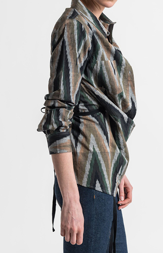 Nicholas K Cotton Chevron Roux Shirt in Multicolor Ikat | Nature Walk Mosaic | Santa Fe Dry Goods & Workshop