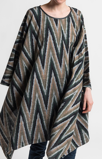Nicholas K Cotton Chevron Poncho Scarf in Multicolor Ikat | Nature Walk Mosaic | Santa Fe Dry Goods & Workshop