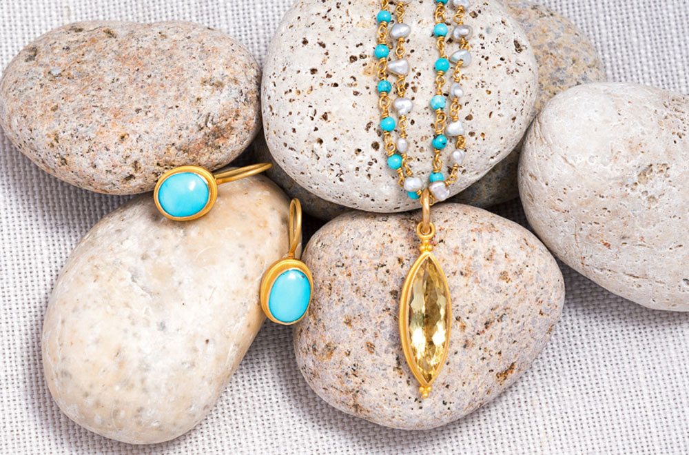 Kimarie Designs 22k Gold & Yellow Marquis Beryl Pendant, Kimarie Designs 18k Gold & Turquoise Necklace, Kimarie Designs 18k Gold & Akoya Pearl Necklace, Kimarie Designs 18k Gold & Turquoise Earrings | Santa Fe Dry Goods & Workshop
