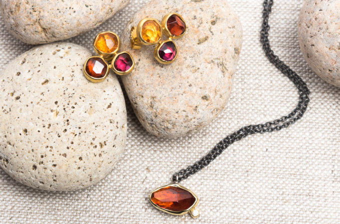 Margoni 18K, Spessartite Garnet, & Diamond Necklace and Margoni 18k, Mandarin & Rhodolite Garnet Post Earrings | Santa Fe Dry Goods & Workshop