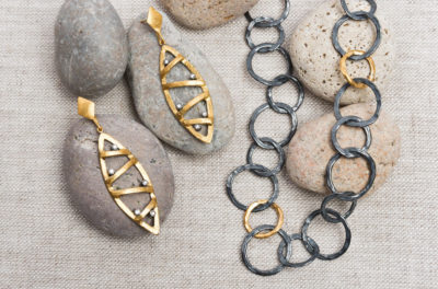 Lika Behar 24k, Silver & Diamond Cage Earrings and ika Behar Bubble Chain Necklace | Santa Fe Dry Goods & Workshop