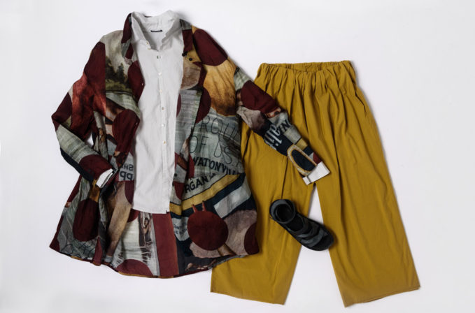 Rundholz print top and Album di Famiglia white top and yellow pants.