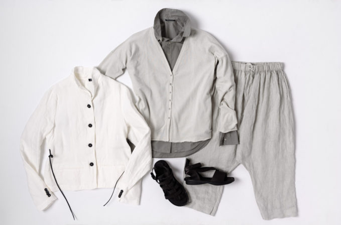 Rundholz Linen shirt and Album di Famiglia grey shirt, off-white cardigan, and grey linen pants