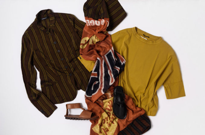 Rundholz striped shirt and print scarf and Album di Famiglia yellow shirt