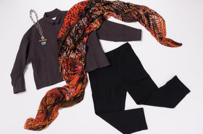 Benny Setti Orange Scarf, Toogood purple top, Brunello Cucinelli black pants, Holly Masterson Ivory and Lapis Necklace