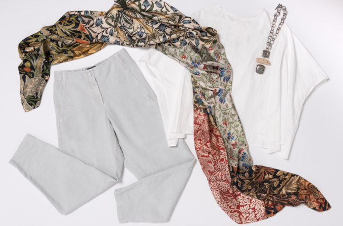 Benny Setti White Floral Scarf, Toogood Cotton White Shirt, Oska Grey Linen Pants, Holly Masterson Necklace