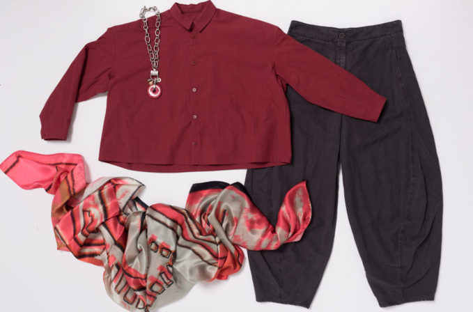 Benni Setti Pink and Grey Scarf, Toogood Cotton Top, Oska Grey Pants, Holly Masterson Necklace