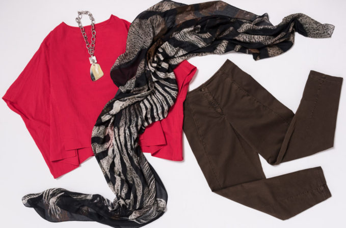 Benny Setti Black Scarf, Toogood Pink Shirt, Oska Brown Pants, and Holly Masterson Necklace