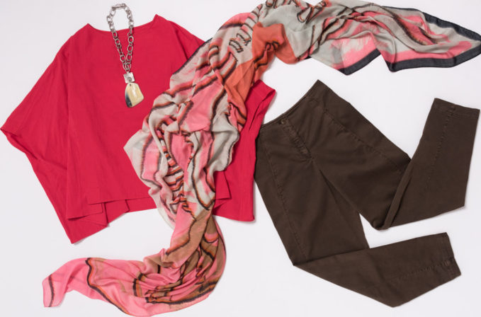 Benny Setti Pink Scarf, Toogood Pink Shirt, Oska Brown Pants, and Holly Masterson Necklace