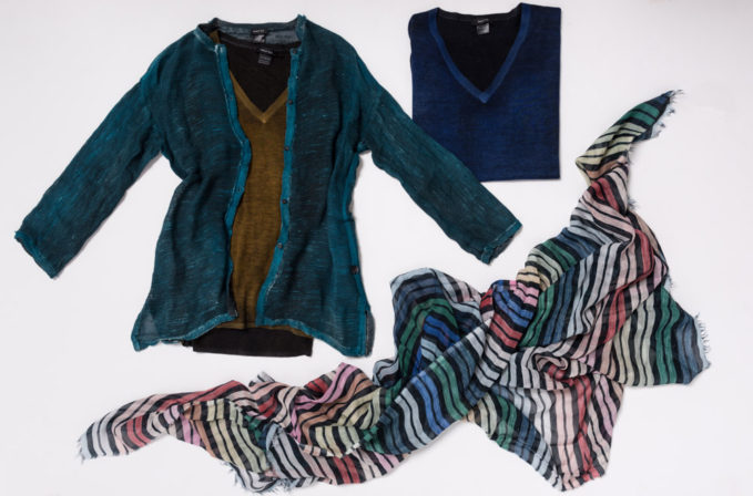 Avant Toi Linen Cardigan and Cashmere Sweater and Som Les Dues Stripe Scarf
