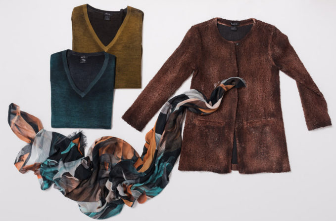Avant Toi Brown Jacket, Cashmere sweaters, and Som Les Dues Leaf Scarf