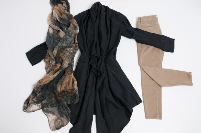 Nicholas K tie jacket in black, Closed jeans baker in tan, and Ever Veritas black fresco scarf