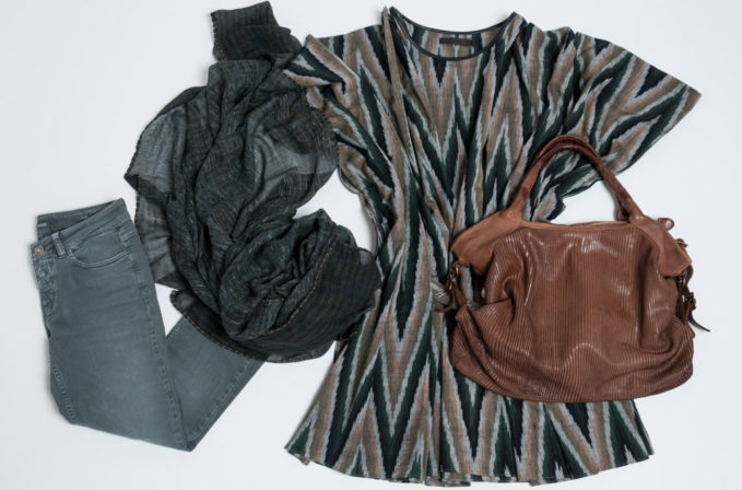 Nicholas K Ikat top, Closed Jeans baker, Ever Veritas black stripe scarf, and Reptile's House brown handbag
