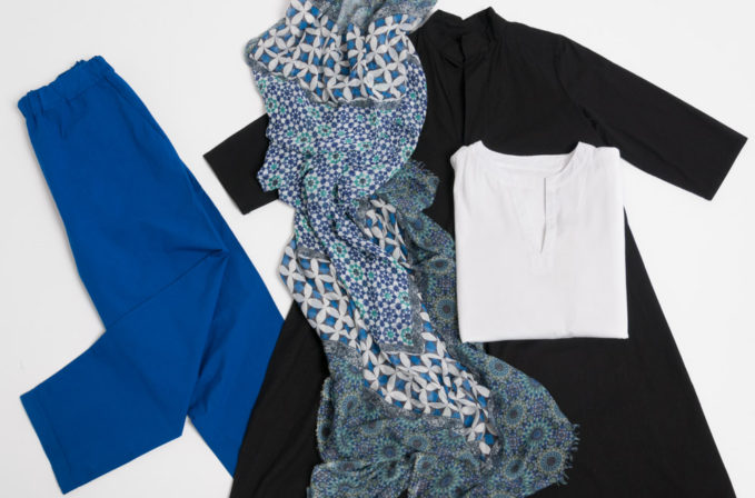 Labo.Art Black Dress, White Shirt, and blue pants and Som Les Dues Blue Scarf