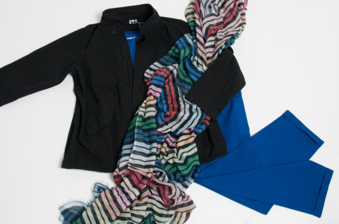 Labo.Art blue pants and shirt, black jacket and Som Les Dues Stripe Scarf