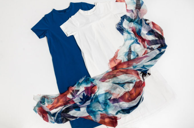 Labo.Art cotton dress in blue and white and Som Les Dues blue and red flora scarf