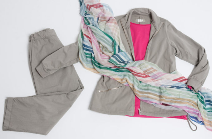 Labo.Art Pink Cotton Top and Grey Pants and Jacket, and Som Les Dues Stripe Scarf
