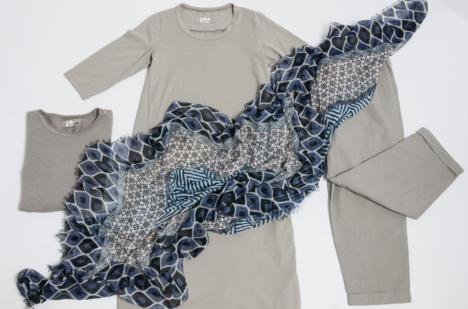 Labo.Art Grey Cotton Dress, Pants, and Shirt and Som Les Dues Blue and Grey Scarf