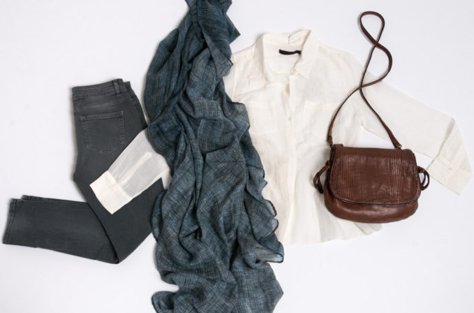 Nicholas K Sheer white top, Closed Jeans Baker, Ever Veritas Blue Scarf, and Massimo Palomba Brown Leather Handbag