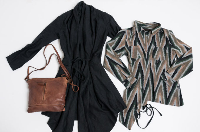 Nicholas K Ikat Shirt and black tie jacket and Reptile's House Brown Leather handbag