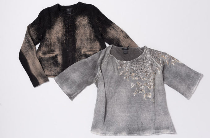 Avant Toi Black and Tan Linen Cardigan and Grey Embroidered Linen Sweater
