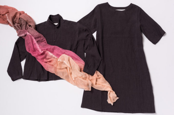 Toogood ramie/linen brown dress, cotton/linen brown top and Faliero Sarti Pink Ombre Scarf