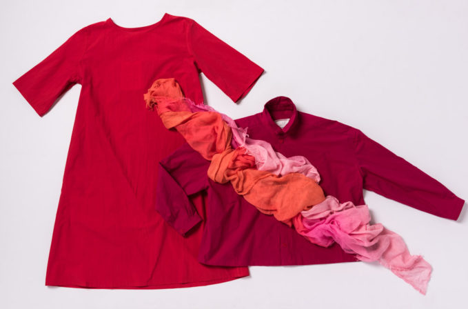 Toogood Cotton Red Dress and Cotton Red Top and Faliero Sarti Pink Ombre scarf