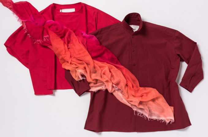 Toogood Cotton Pink Top, Toogood cotton red top, and Faliero Sarti Pink Ombre Scarf