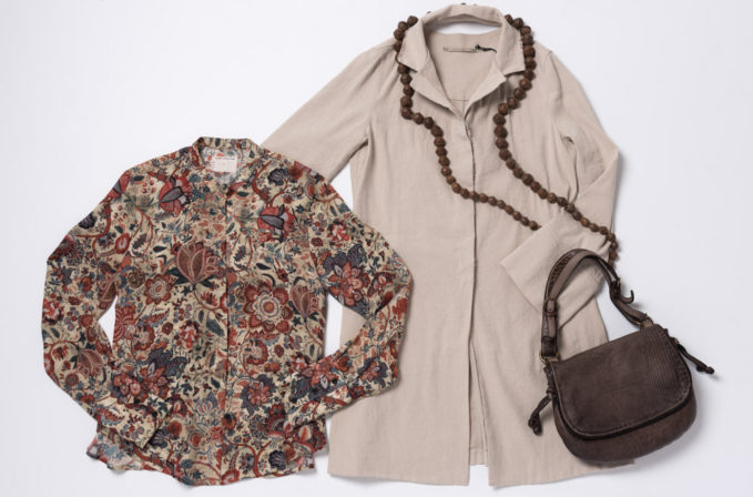 Gary Graham Indienne Floral Shirt, Annette Gortz beige jacket, Lou Zeldis bead necklace, and Reptiles house brown bag