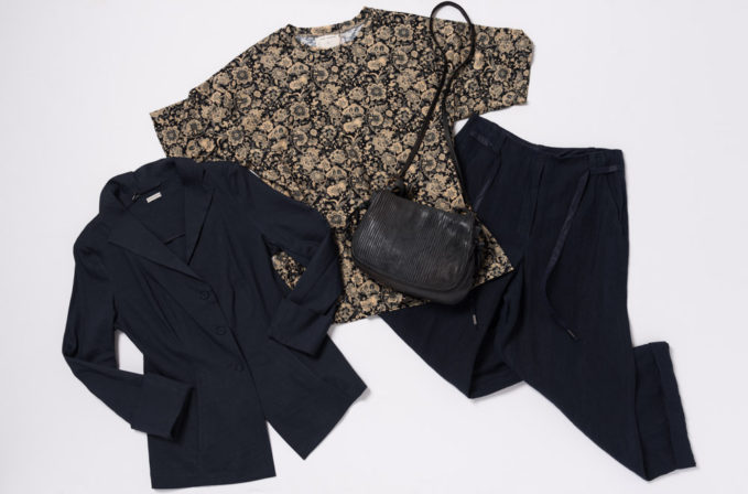 Annette Gortz Black Jacket and Black-Blue culottes, Gary Graham Indienne Floral top, and Reptiles House Black leather bag