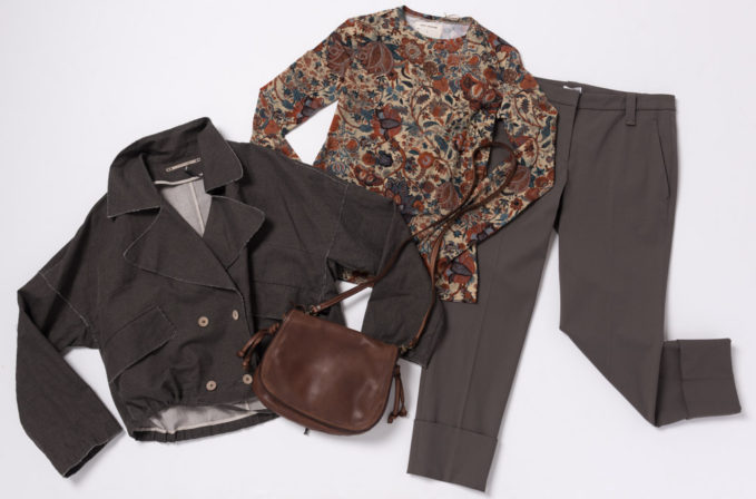 Annette Gortz Grey Jacket and Pants, Gary Graham Indienne Floral print top, and Reptiles House brown leather bag