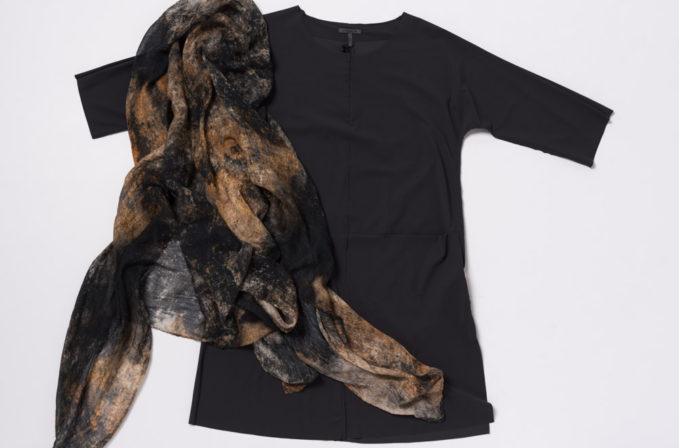 Oska Black Dress and Ever Veritas Black and Natural Scarf
