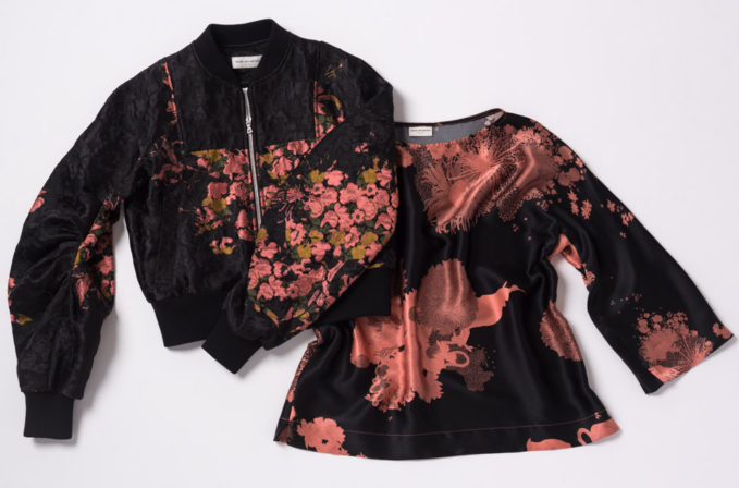 Dries Van Noten Floral Prints Black and Pink Jacket and floral black and pink top