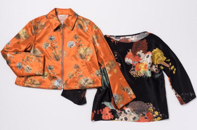 Dries van Noten orange silk floral jacket and black floral silk print top