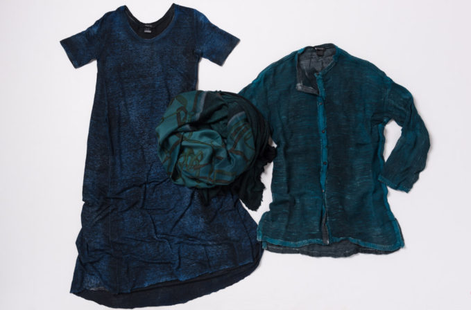 Avant Toi Deep Blue Linen dress, deep turquoise cardigan and deep teal scarf