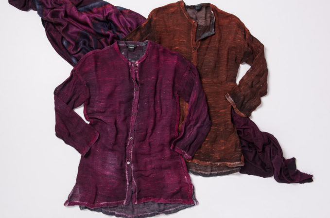 Avant Toi Magenta Linen Cardigan, Amber Red Linen Cardigan, and magenta cashmere scarf