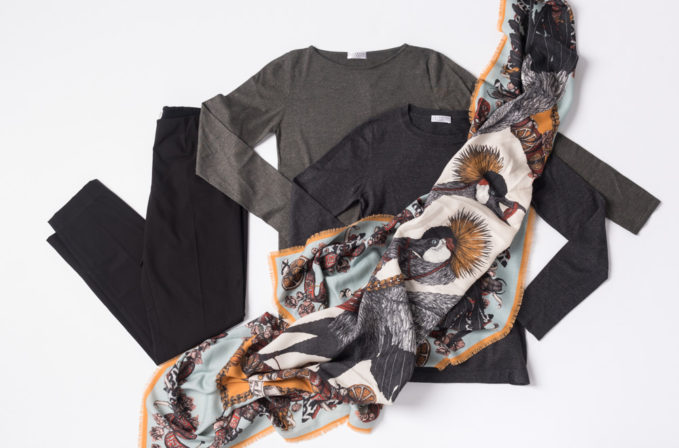 Sabina Savage Blue and Yellow Crane Scarf paired with Brunello Cucinelli grey top and black pants