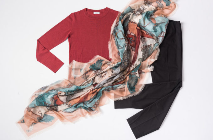Sabina Savage Peach and Blue Scarf paired with Brunello Cucinelli Red Top and Black Pants