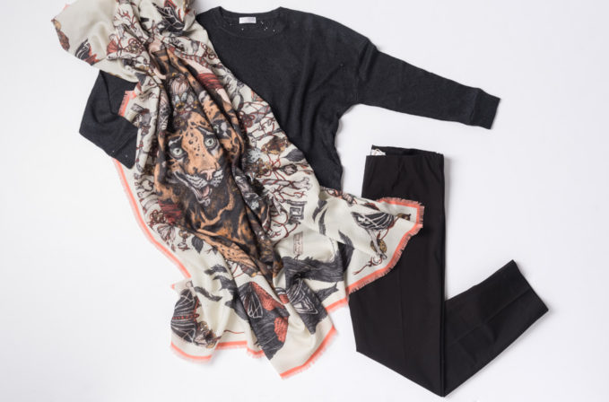 Sabina Savage White and Leopard Scarf with Brunello Cucinelli grey sweater and black pants