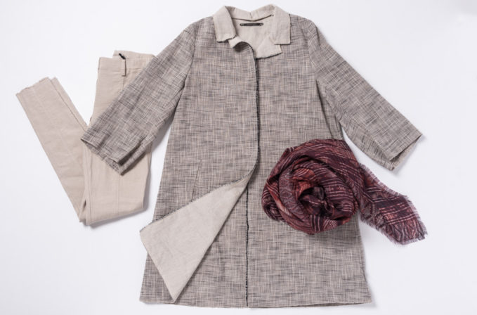 Annette Görtz A Line Grey Coat and Beige pants paired with Al011pi cashmere red-purple scarf