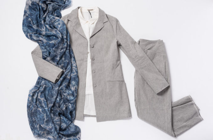 Annette Görtz Grey Linen Jacket and Pants and white top paired with Al011pi Cashmere blue scarf