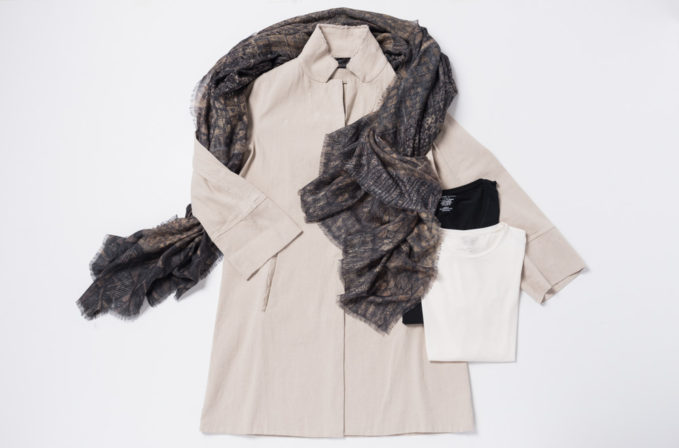 Annette Görtz Beige Jacket, Majestic Filatures Black and white shirt, and Al011pi Cashmere brown scarf