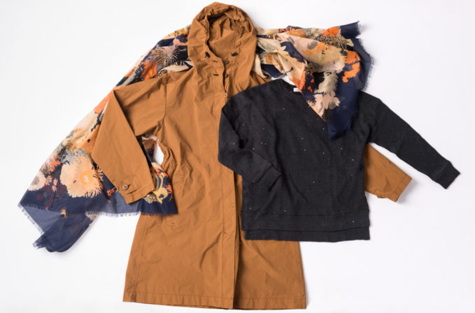 Issey MIyake Cauliflower Orange Coat, Dries Van Noten Floral Print Cotton Scarf, Brunello Cucinelli Navy Blue Sweater
