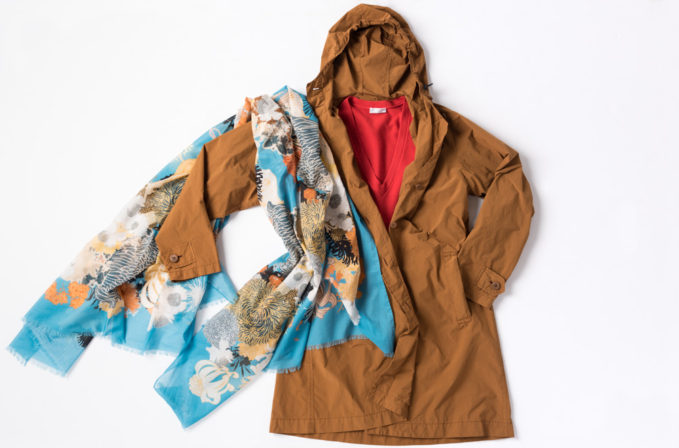 Dries Van Noten Floral Cotton Scarf, Issey Miyake Cauliflower Orange Coat, and Brunello Cucinelli Red Sweater